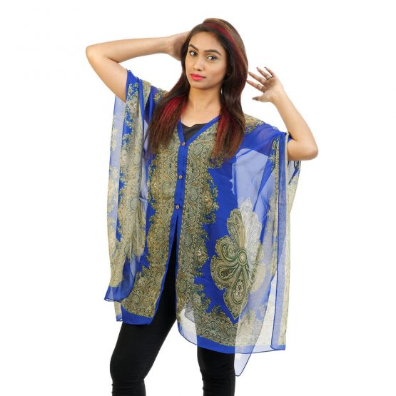 Abstract Print 4 Way Wearable Poncho in Royal Blue with multi color