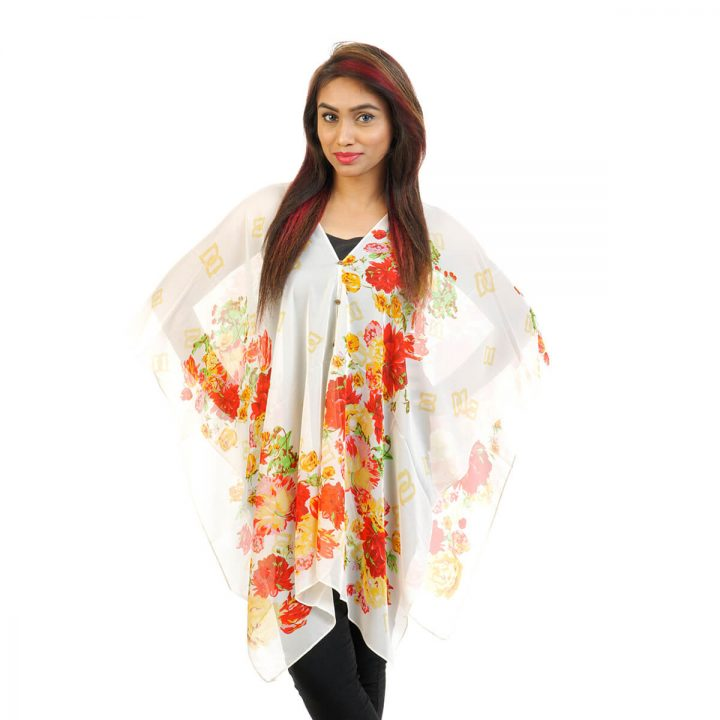Floral Print 4 Way Wearable Poncho in Half White