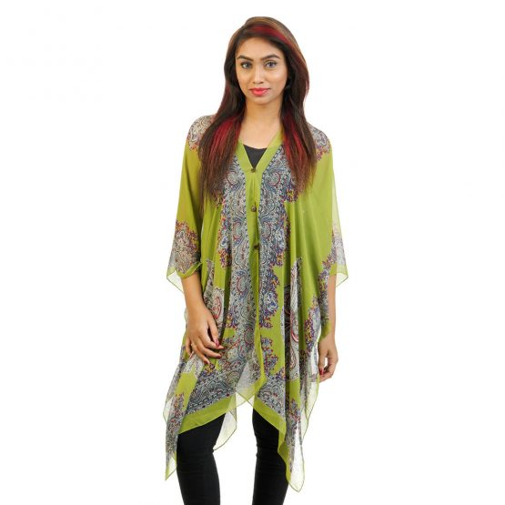 Abstract Print 4 Way Wearable Poncho in Parrot Green with multi color