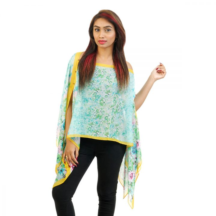 Floral Print 4 Way Wearable Poncho in Light Blue with multi color