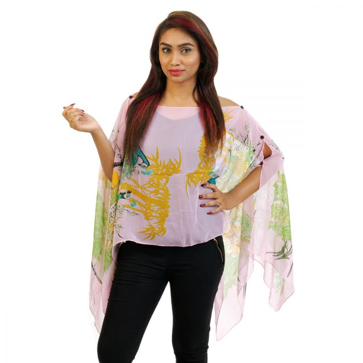Floral Print 4 Way Wearable Poncho in yellow with multi color.