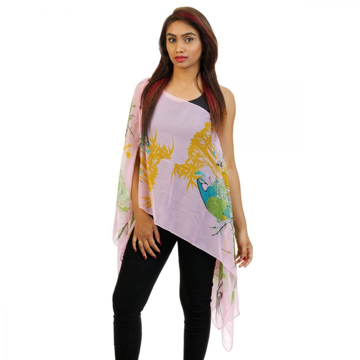 Peacock Print 4 Way Wearable Poncho in Baby Pink with multi color