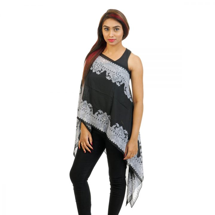 Paisley Print 4 Way Wearable Poncho in Black with multi color