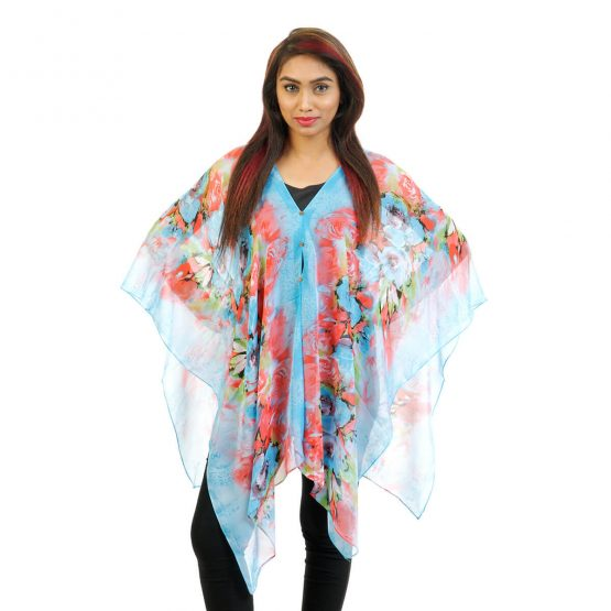 4 Way Wearable Poncho – Floral Print in Blue with multi color.