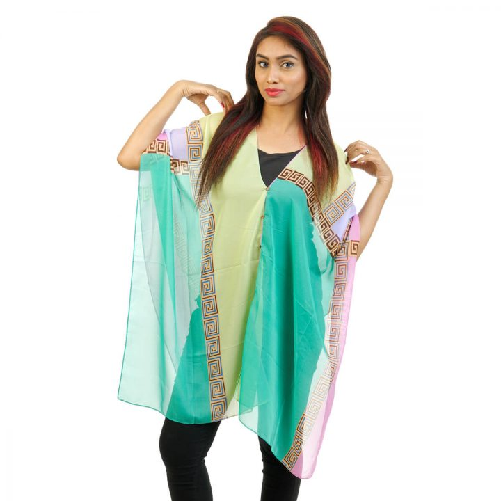 Abstract Print 4 Way Wearable Poncho in Green with multi color