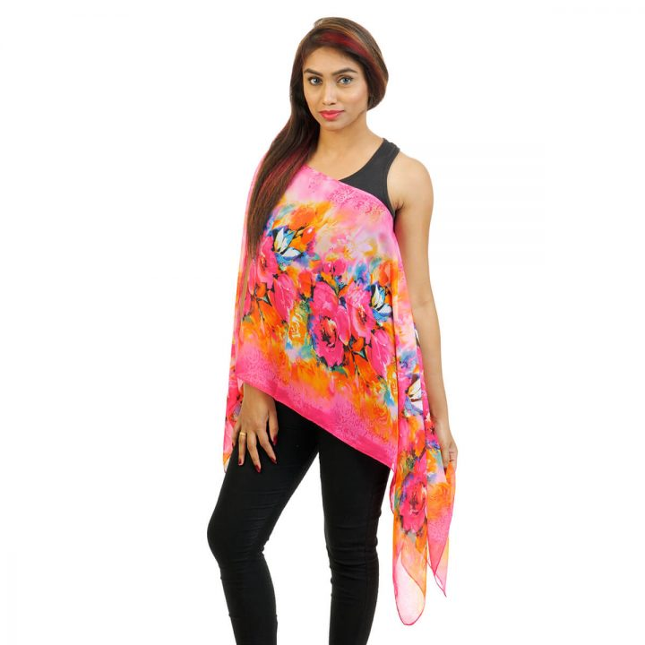 Floral Print 4 Way Wearable Poncho in Pink with multi color