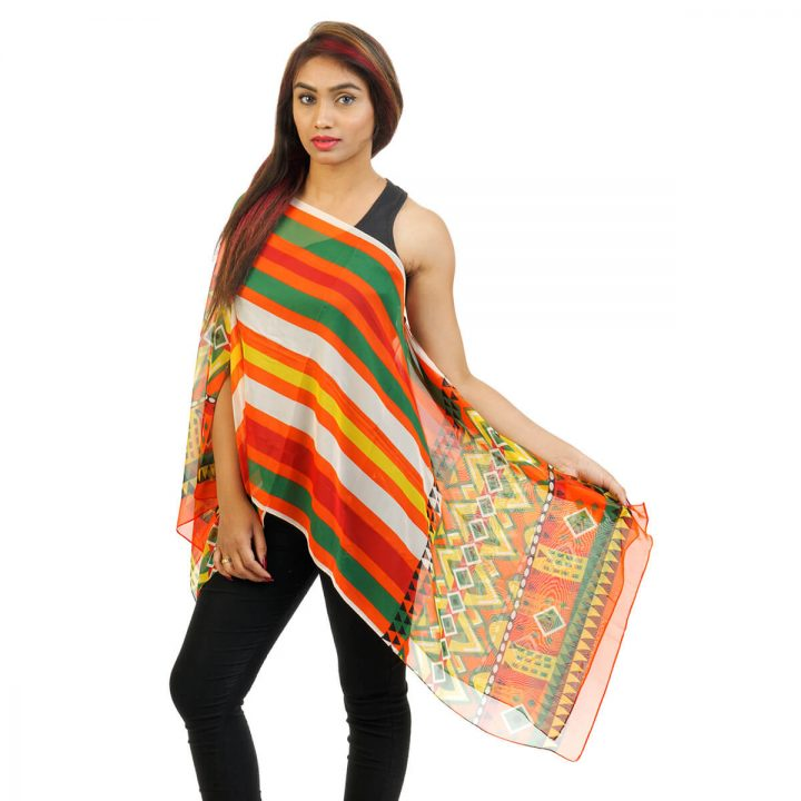 Geometric Print 4 Way Wearable Poncho in multi color