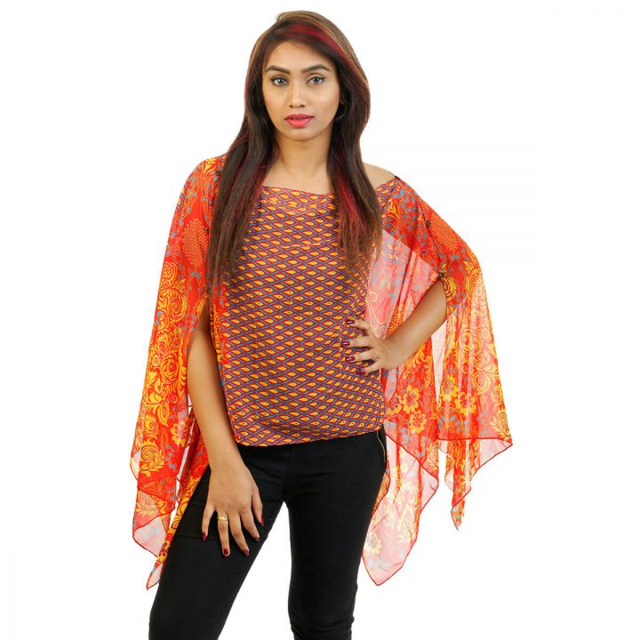 Floral Print 4 Way Wearable Poncho in orange with yellow color.