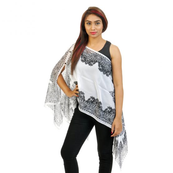 Paisley Print 4 Way Wearable Poncho in white with multi color.