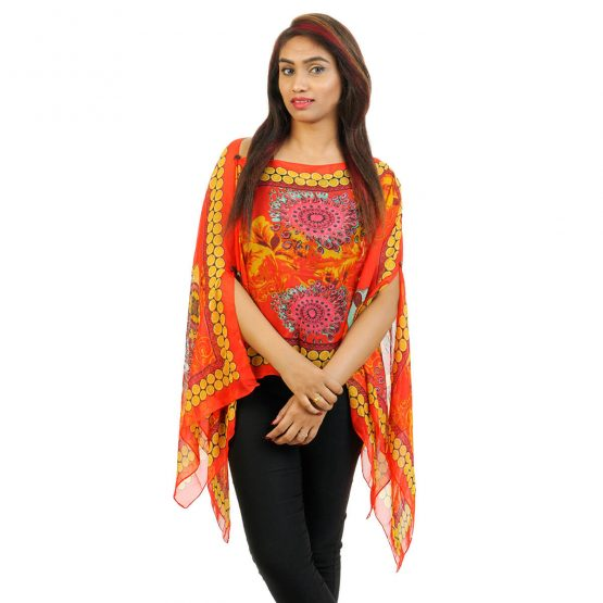 Floral Print 4 Way Wearable Poncho in orange with multi color.