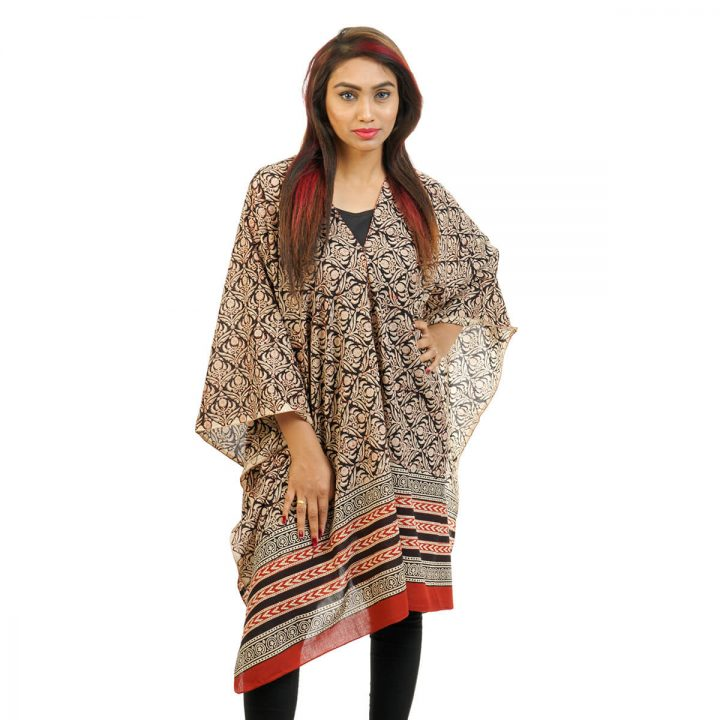 Block Printed Butas With Border 4 Way Wearable Poncho in Black and Beige.