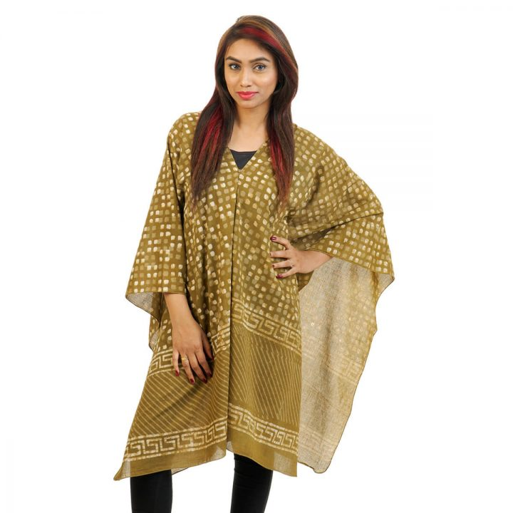Block Printed Butas With Border 4 Way Wearable Poncho in Brown.