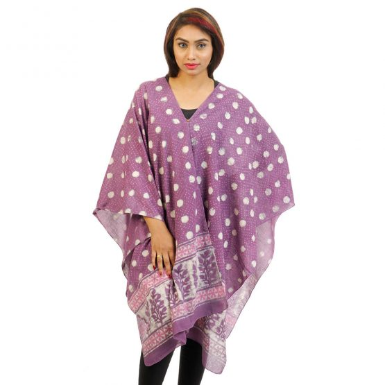 Block Printed Pol-co 4 Way Wearable Poncho in Lavender.