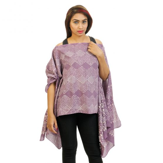 Geometric Print 4 Way Wearable Poncho in Lavender.