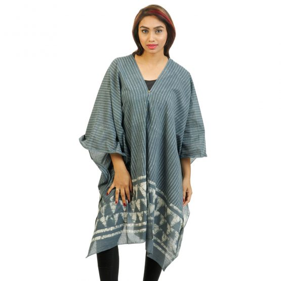 Block Print With Border 4 Way Wearable Poncho in Grayish Blue
