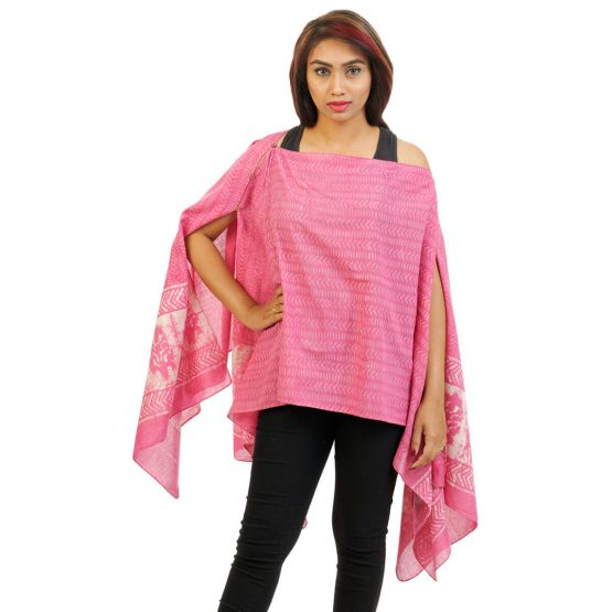 Block Print With Border 4 Way Wearable Pouncho in Pink