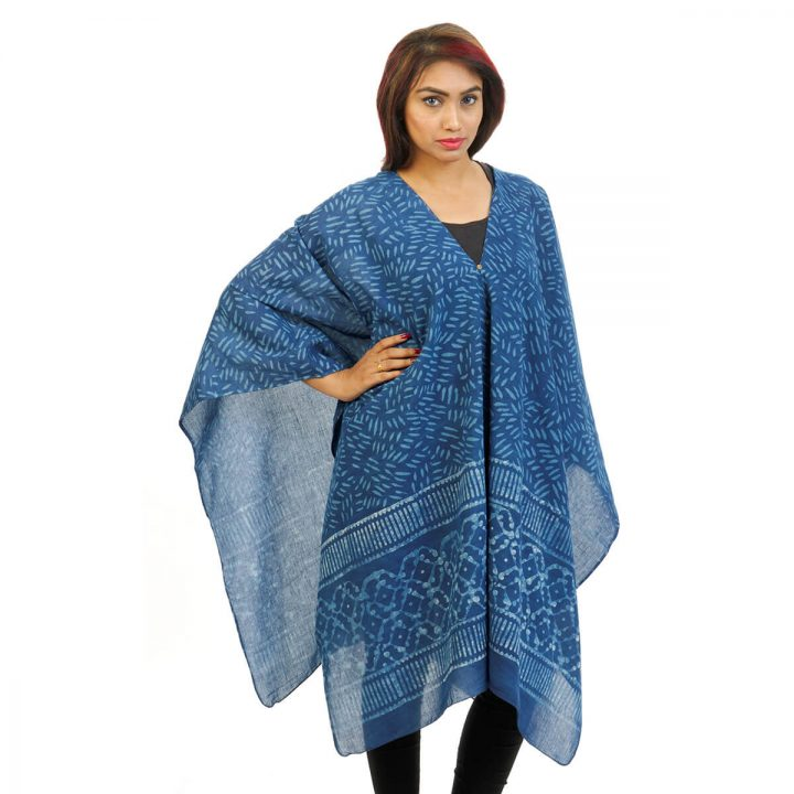 Block Print With Border 4 Way Wearable Poncho in Indigo