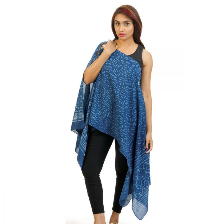 Block Print With Border 4 Way Wearable Pouncho in Indigo