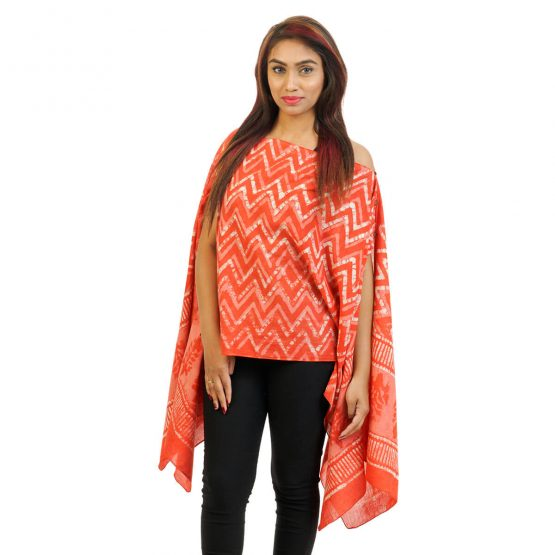 Chevron With Border 4 Way Wearable Pouncho in Orange