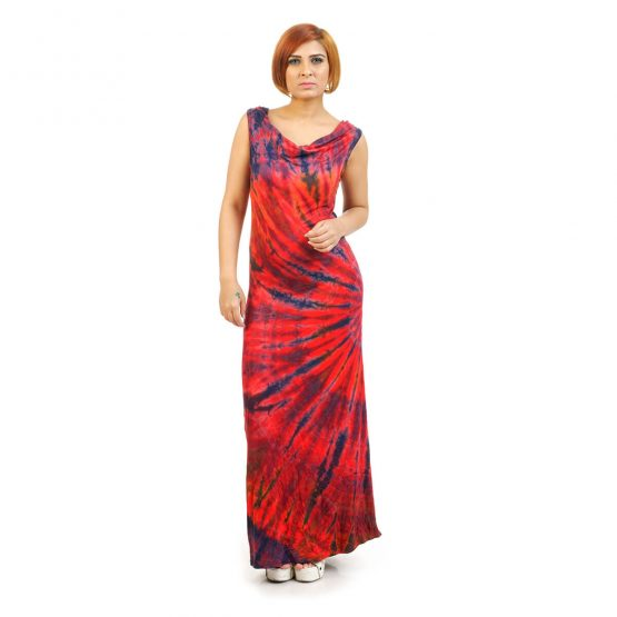 sleeveless - Fitted Tie & Dye Cowl Neck Long Dress