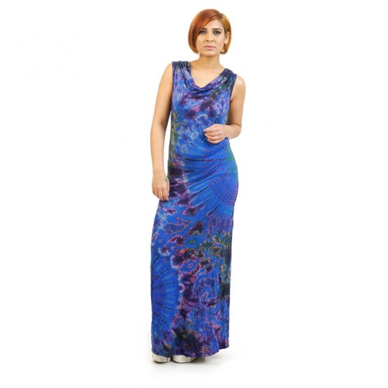 Sleeveless - Fitted Tie & Dye Cowl Neck Long Dress in Blue multicolour