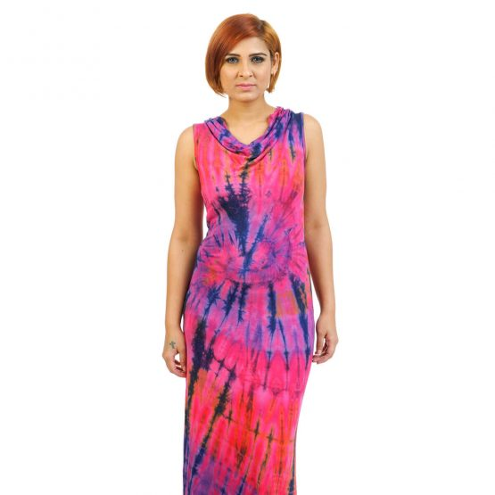 Sleeveless - Fitted Tie & Dye Cowl Neck Long Dress in Pink and Blue multicolour