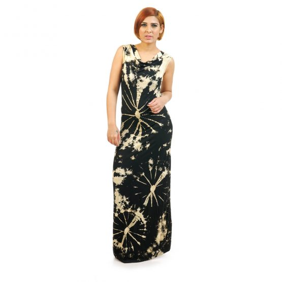 Sleeveless - Fitted Tie & Dye Cowl Neck Long Dress in Black and Beige
