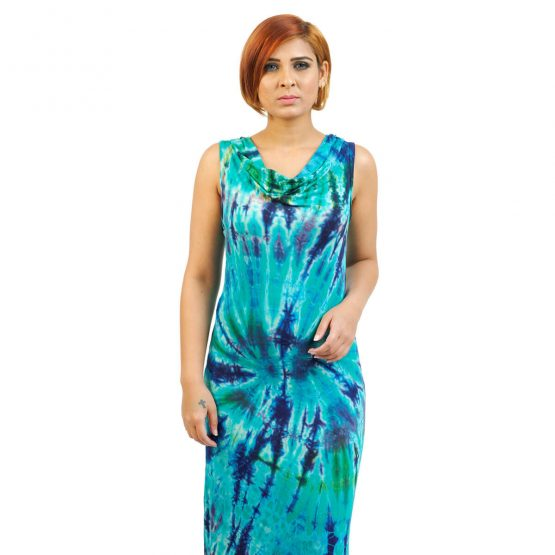Sleeveless - Fitted Tie & Dye Cowl Neck Long Dress in Turquoise Multi Blue