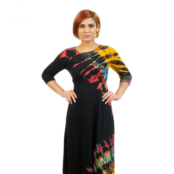 3/4 sleeve -Fitted Tie & Dye Ankle Length Dress in black multicolour
