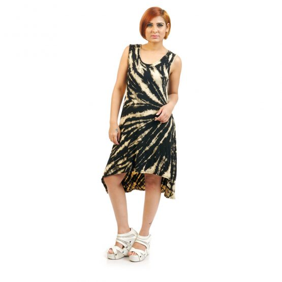 Sleeveless - Short & Long Tie Dye Knee Length Comfortable Dress in black and beige