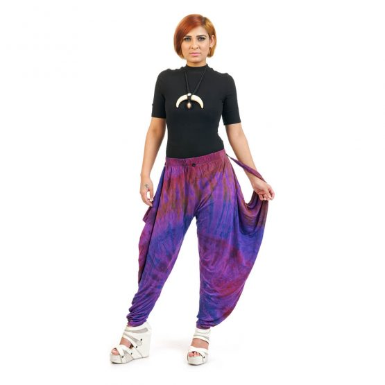 ankle length Tie & Dye Button Trouser with dark blue and multicolor.
