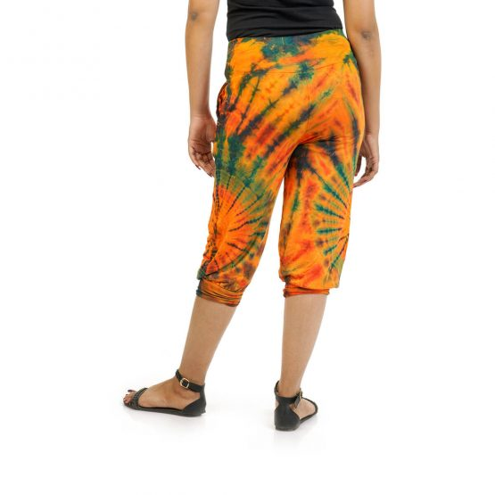 3/4 Tie & Dye Trouser With Elastic Bottom in Peach, Blue and Multicolor
