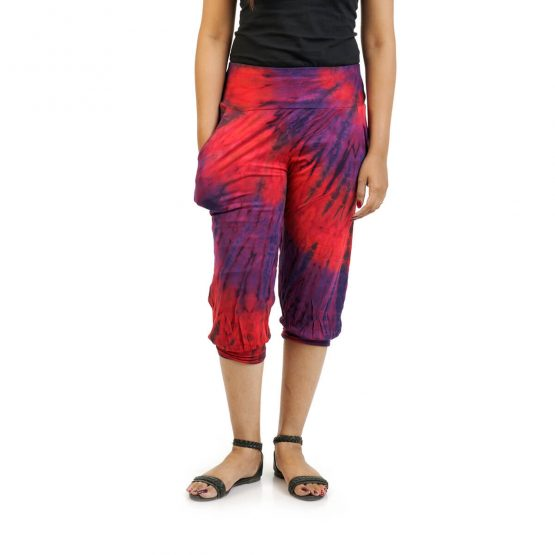 3/4 Tie & Dye Trouser With Elastic Bottom in Rust, Purple and Multicolor