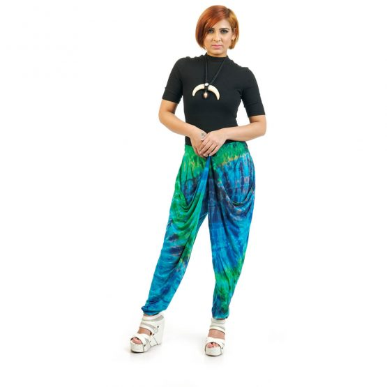 ankle length Tie & Dye Button Trouser with blue and green multicolor.