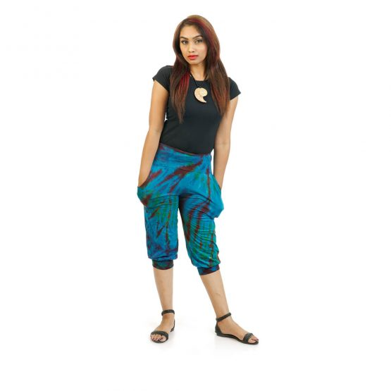 3/4 Tie & Dye Trouser With Elastic Bottom in Royal Blue, Black and Multicolor