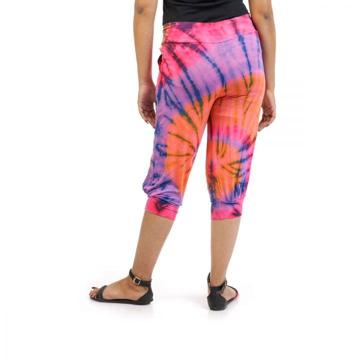 3/4 Tie & Dye Trouser With Elastic Bottom in Orange, Blue and Multicolor
