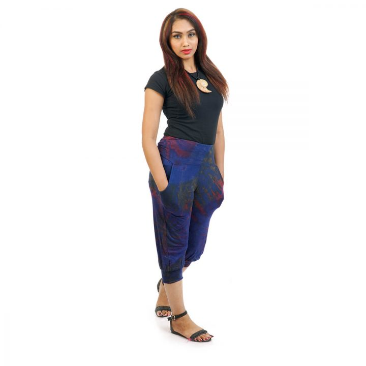 3/4 Tie & Dye Trouser With Elastic Bottom in Royal Blue, Pink and Multicolor