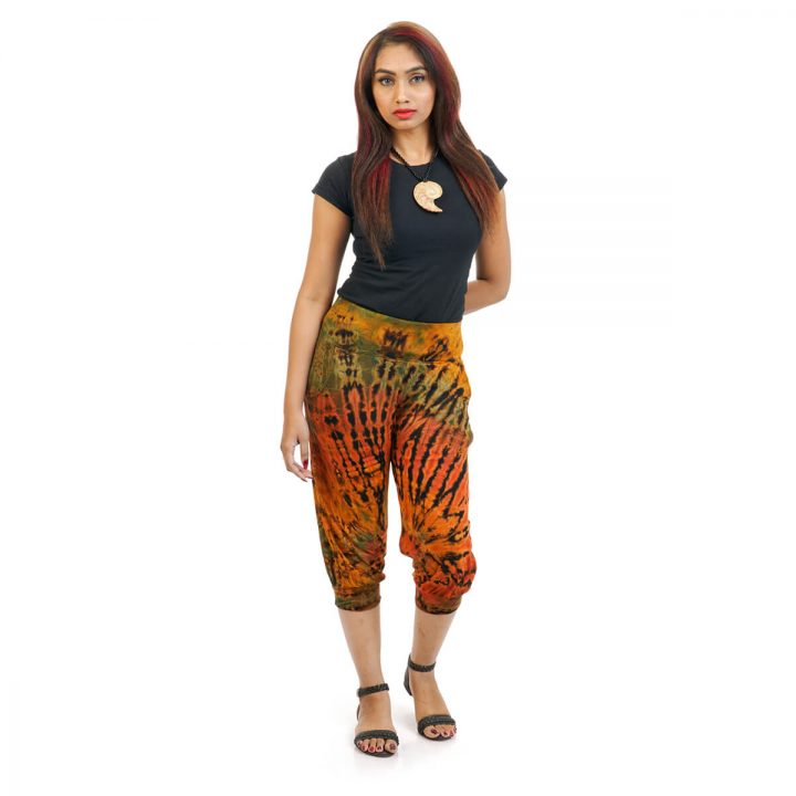 Knee length 3/4 Tie & Dye Trouser With Elastic Bottom in Black, Brown and Multicolor