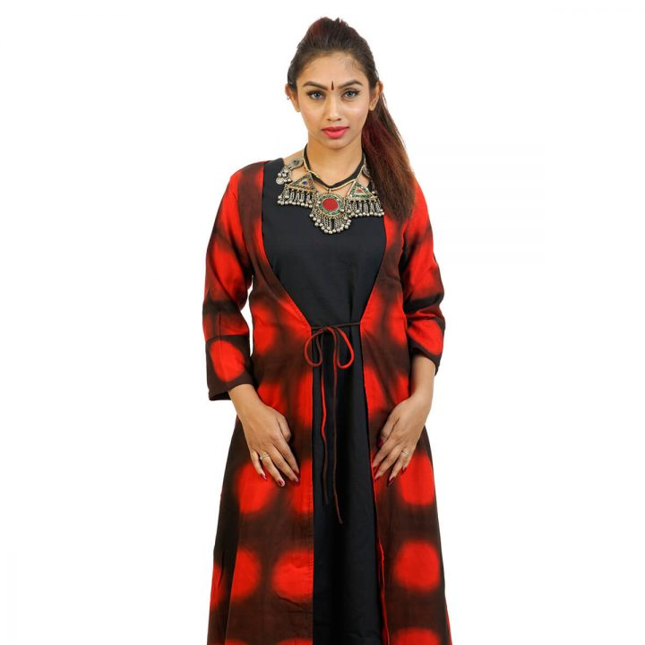 3/4 Sleeve - Ankle Length kerchief Cut Tie & Dye Jacket with Sleeveless full Length dress
