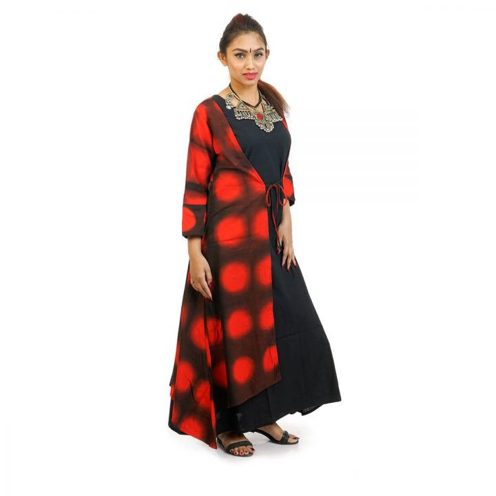 Ankle Length kerchief Cut Tie & Dye Jacket with Sleeveless full Length dress red