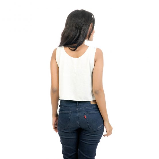 Women's Crop top with Aztec and cutwork on the neckline.