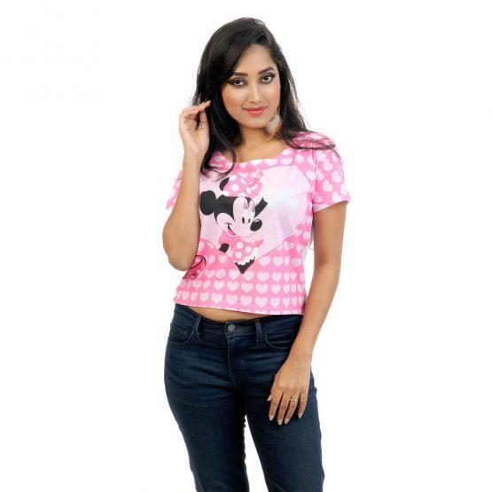 Women's crop top fitted with Minnie Mouse print on it.