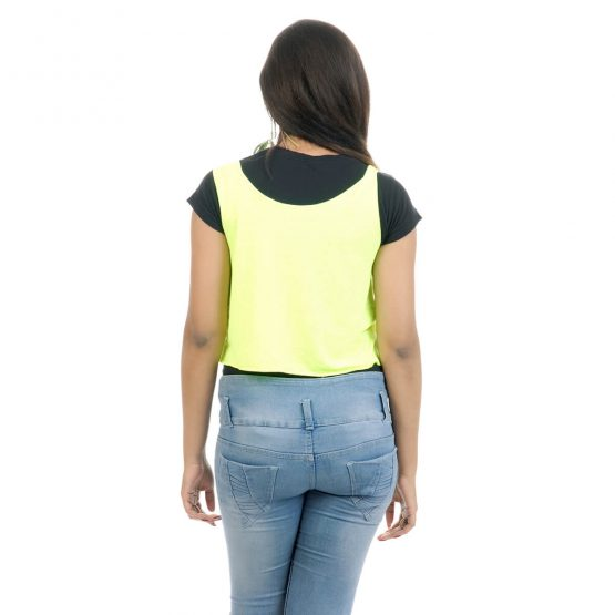 Crop top plain Neon yellowish green with cut work on the neckline.