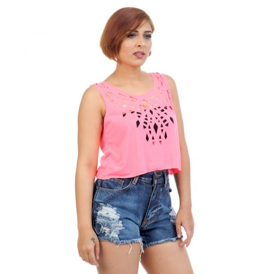 Crop tops for girls in plain neon pink with cut work on the neckline.