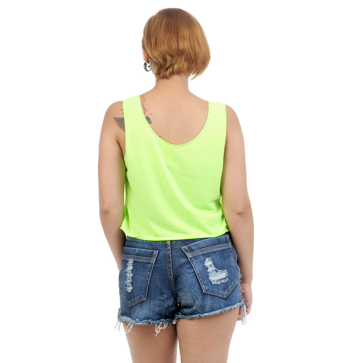 9dbcca5d5a4abc Neon dark green Crop top with cutwork on the neckline. Backside look.