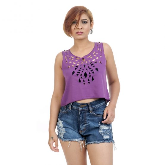 Crop tops for women online, with plain purple w1ith cutwork on the neckline.
