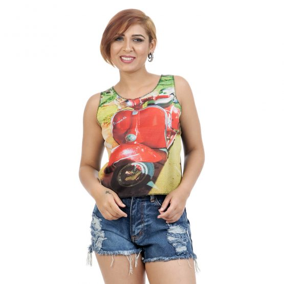 Sleeveless Crop Top with Vespa Print from Funky Fusion