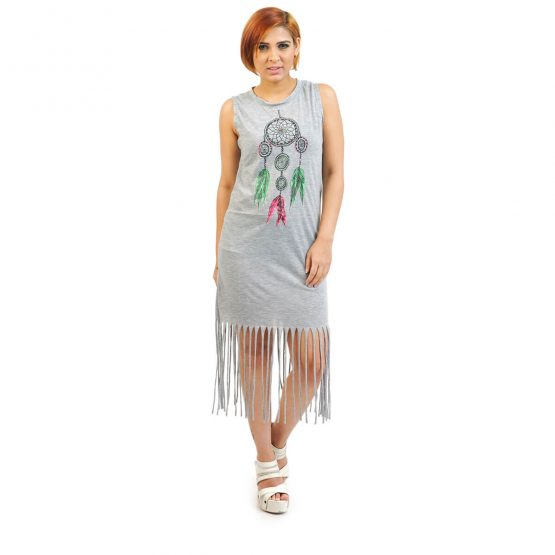 Dreamcatcher print in the center Tassel dress in Grey color