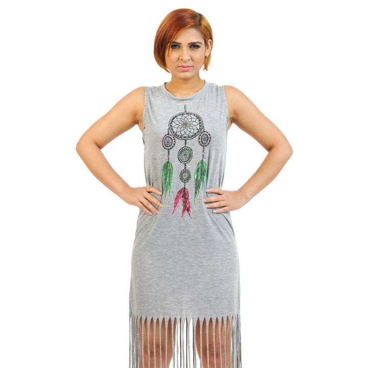 Dreamcatcher print Tassel dress in Grey color