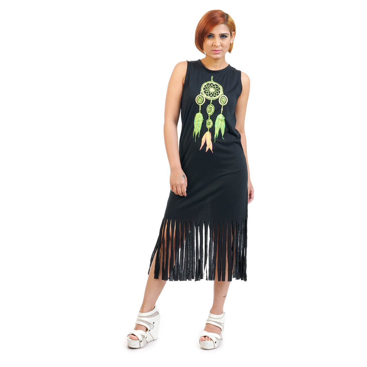836e8289838 Spring Summer Dreamcatcher Pattern Tassel Dress. Spring Summer Dreamcatcher  Pattern Tassel Dress in black color from Funky Fusion at Best Prices